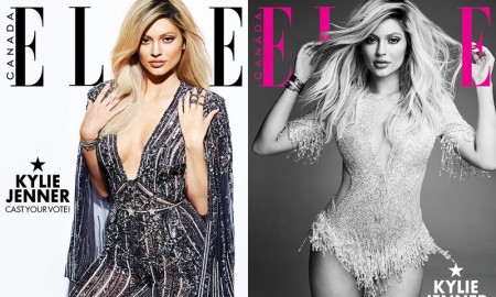 Kylie Jenner poses on two cover options for ELLE Canada's November 2015 issue