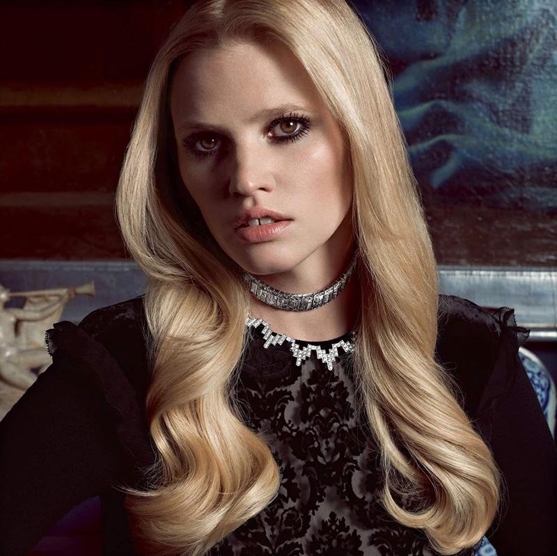 Lara Stone Stuns in Statement Necklaces for Vogue Paris