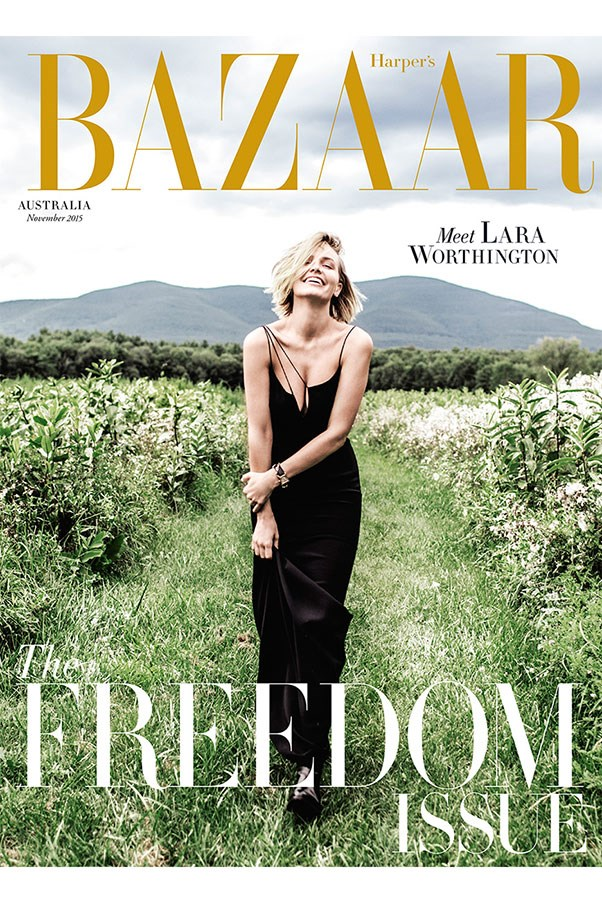 Lara Worthington (née Bingle) graces the November 2015 cover of Harper's Bazaar Australia. The star poses for Russell James in an outdoor setting.