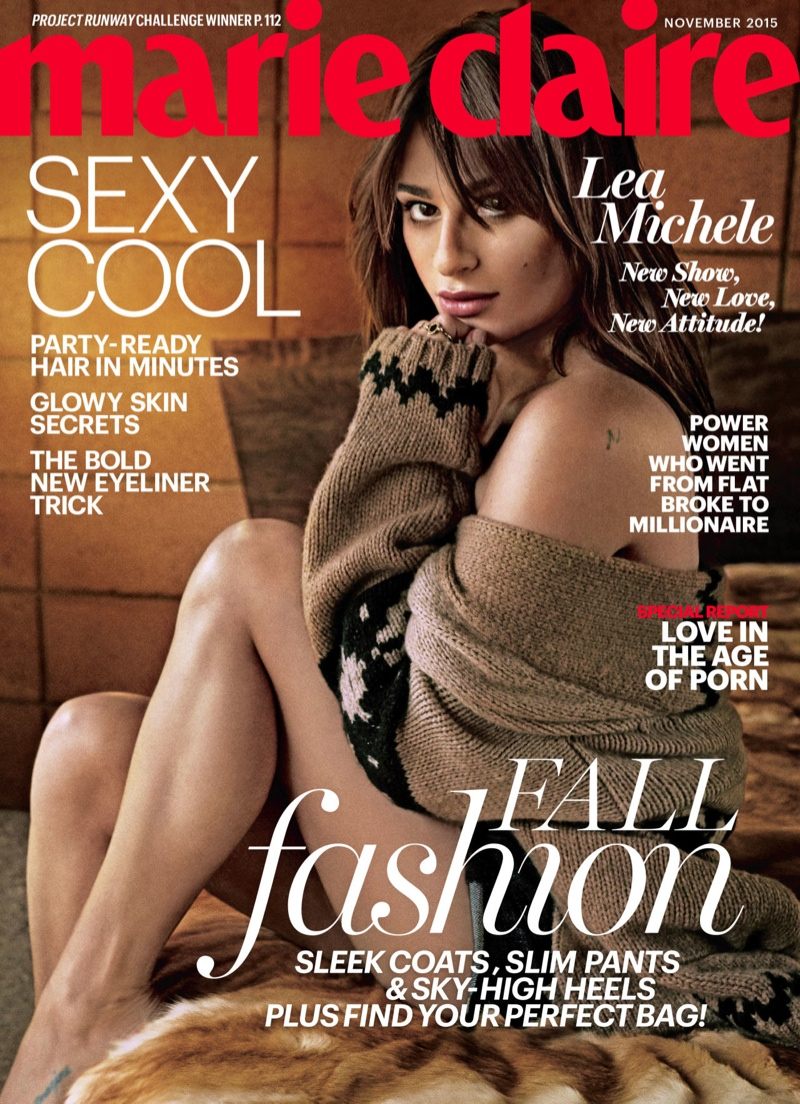 The November 2015 cover of Marie Claire US stars Lea Michele