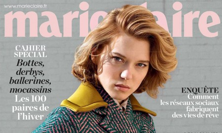 Lea Seydoux graces the November 2015 cover of Marie Claire France. The actress wears a Prada look in an image lensed by Elina Kechicheva.