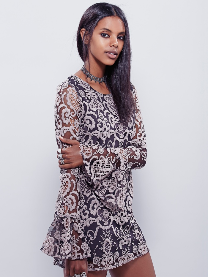 Lenni Embroidered Bell Sleeve Dress