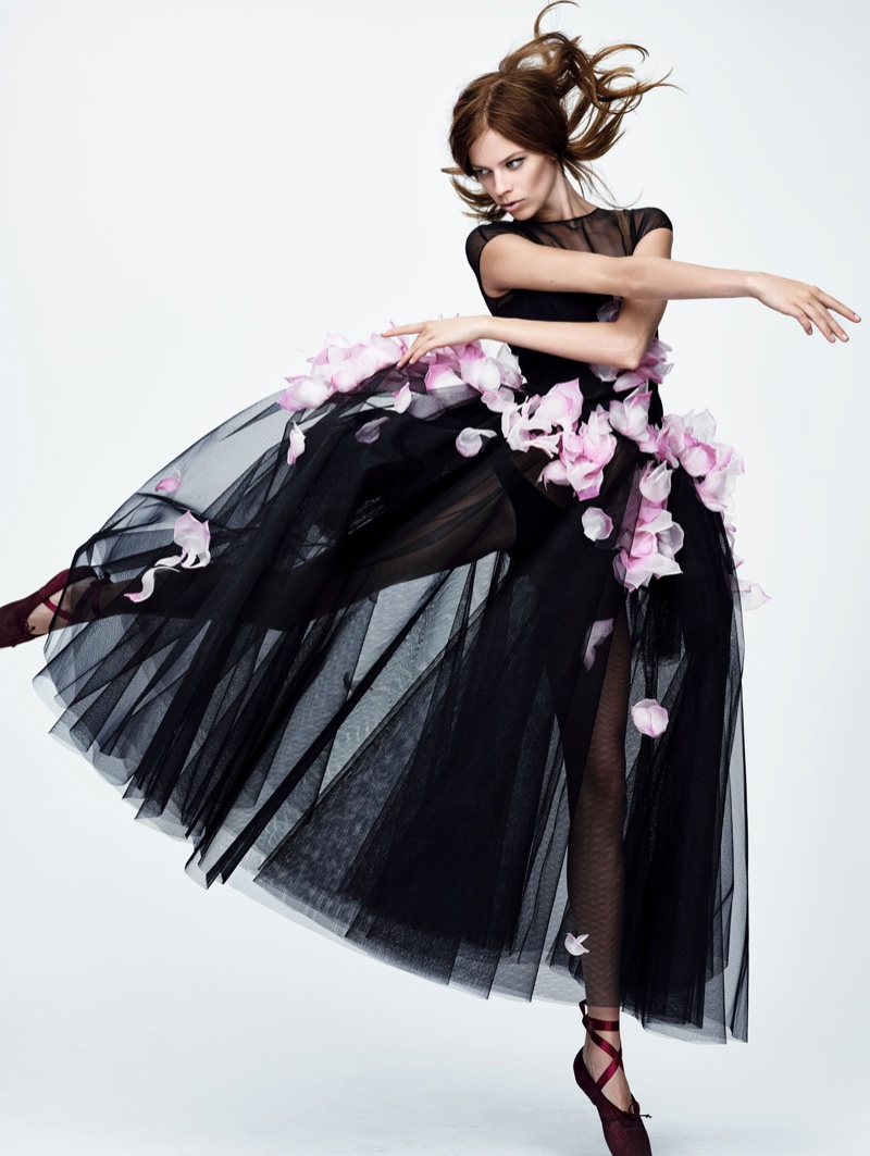 Lexi Boling stars in ballet themed editorial for Vogue China Collections
