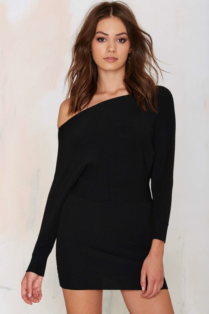 Lioness Off-the-Shoulder Knit Dress in Black