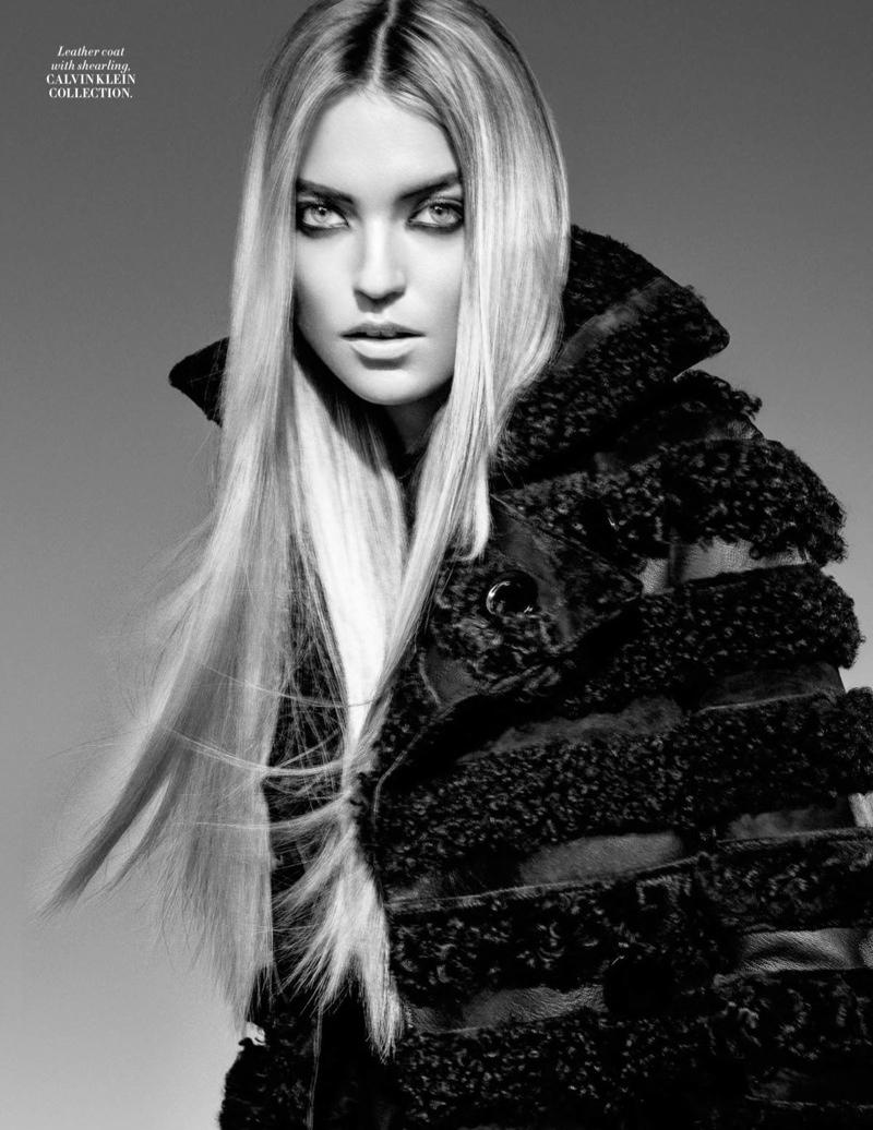 Martha poses in a Calvin Klein Collection coat