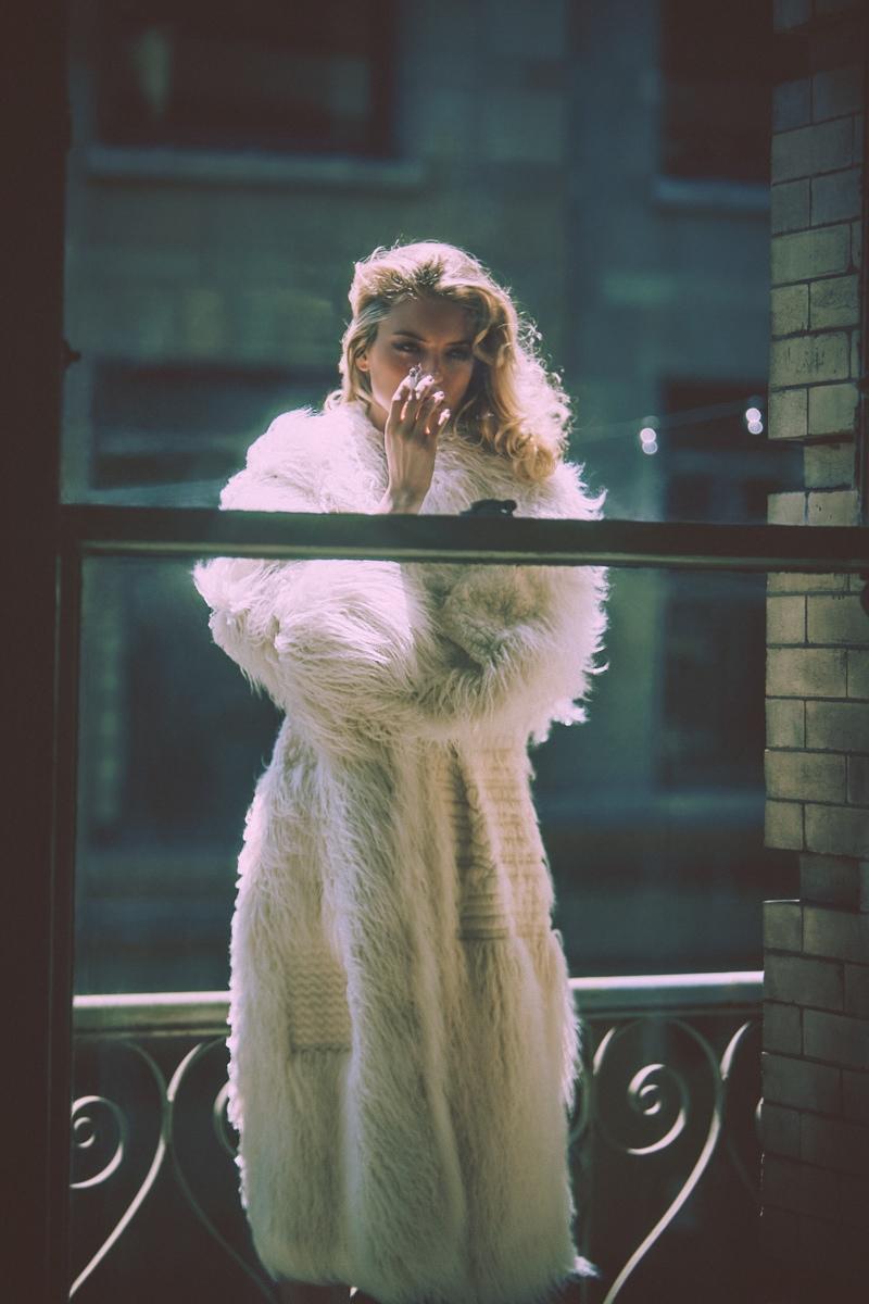 The Victoria's Secret Angel wears a fur coat