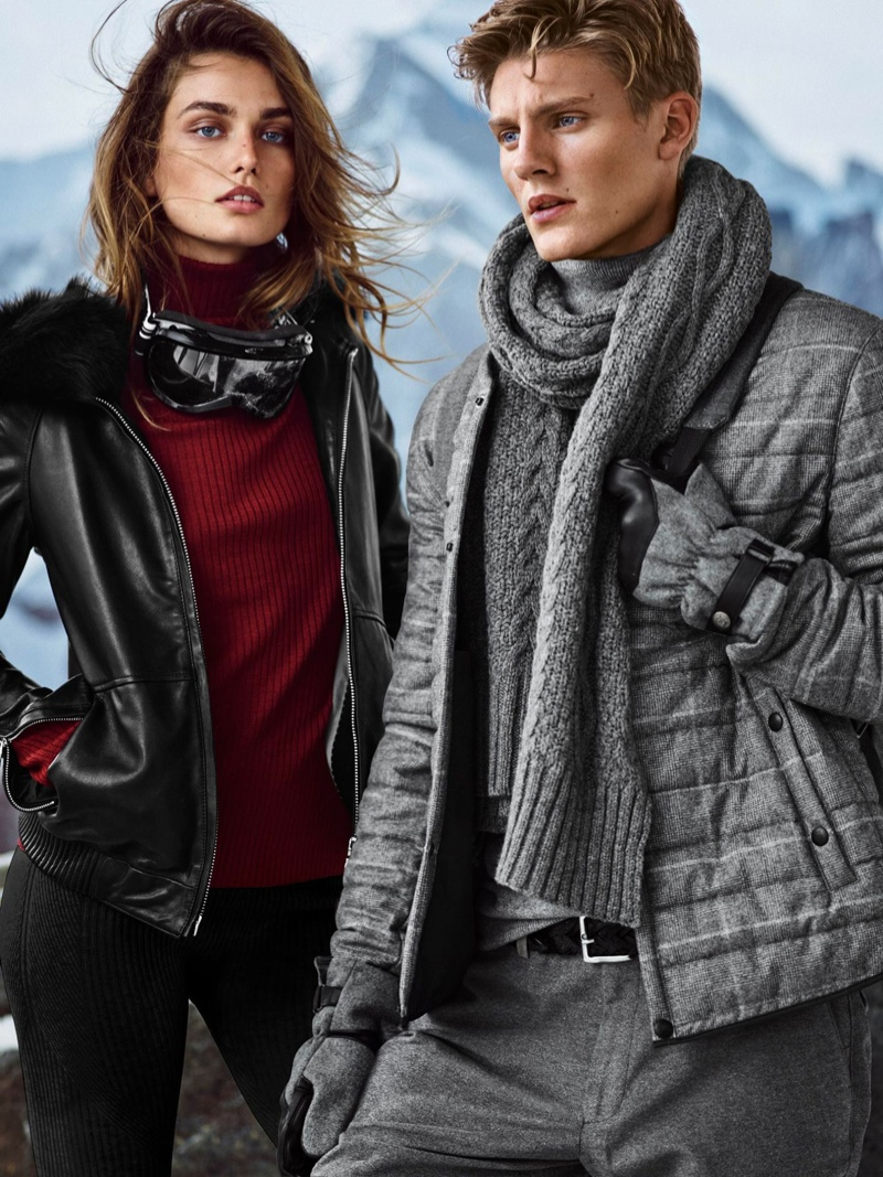 Layering up in sweaters and jackets, the models look ready to hit the slopes