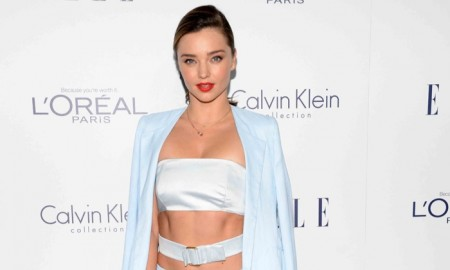 Miranda Kerr wears a Calvin Klein Collection pant suit at the 22nd annual ELLE Women in Hollywood celebration