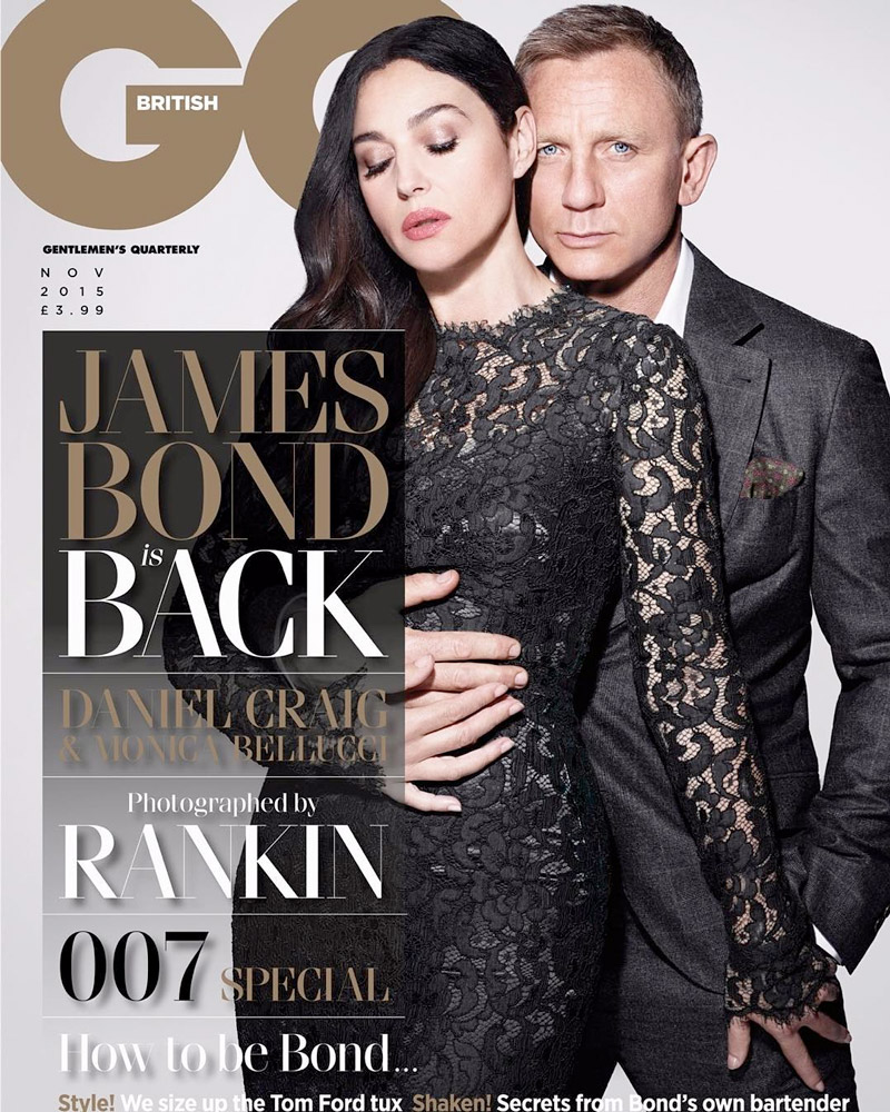 Monica Bellucci and Daniel Craig land the November 2015 cover from GQ UK. The 'Spectre' co-stars pose for Rankin in the image. FYI, Monica is wearing a Dolce & Gabbana dress.