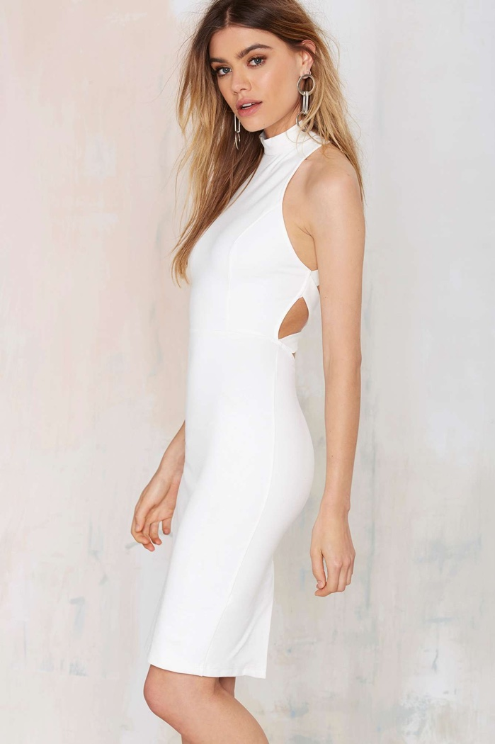 Nasty Gal Criss-Cross Back Bodycon Dress in White