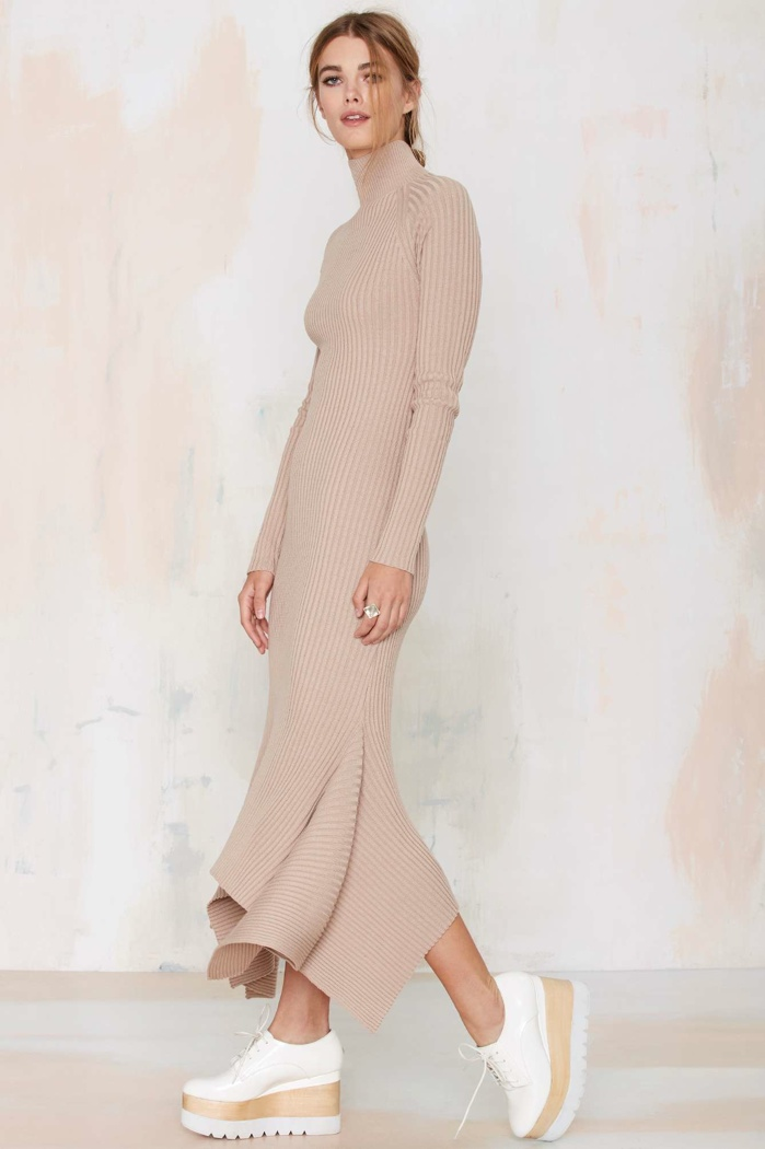 Nasty Gal Ribbed Knit Maxi Dress