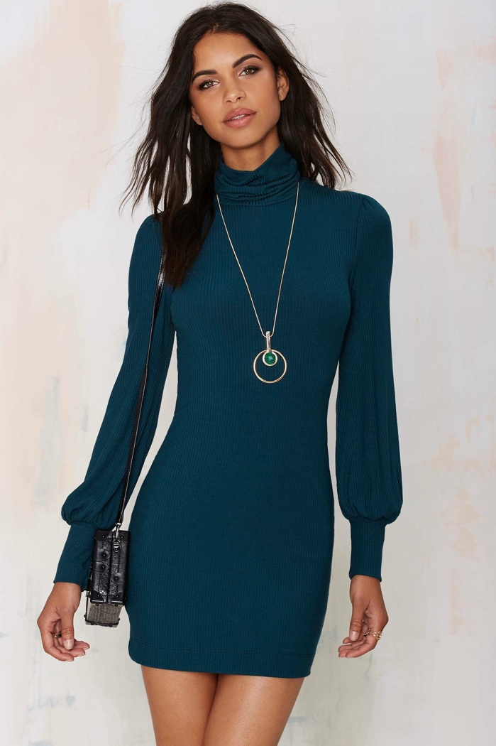 Nasty Gal Somebody to Love Ribbed Turtleneck Dress