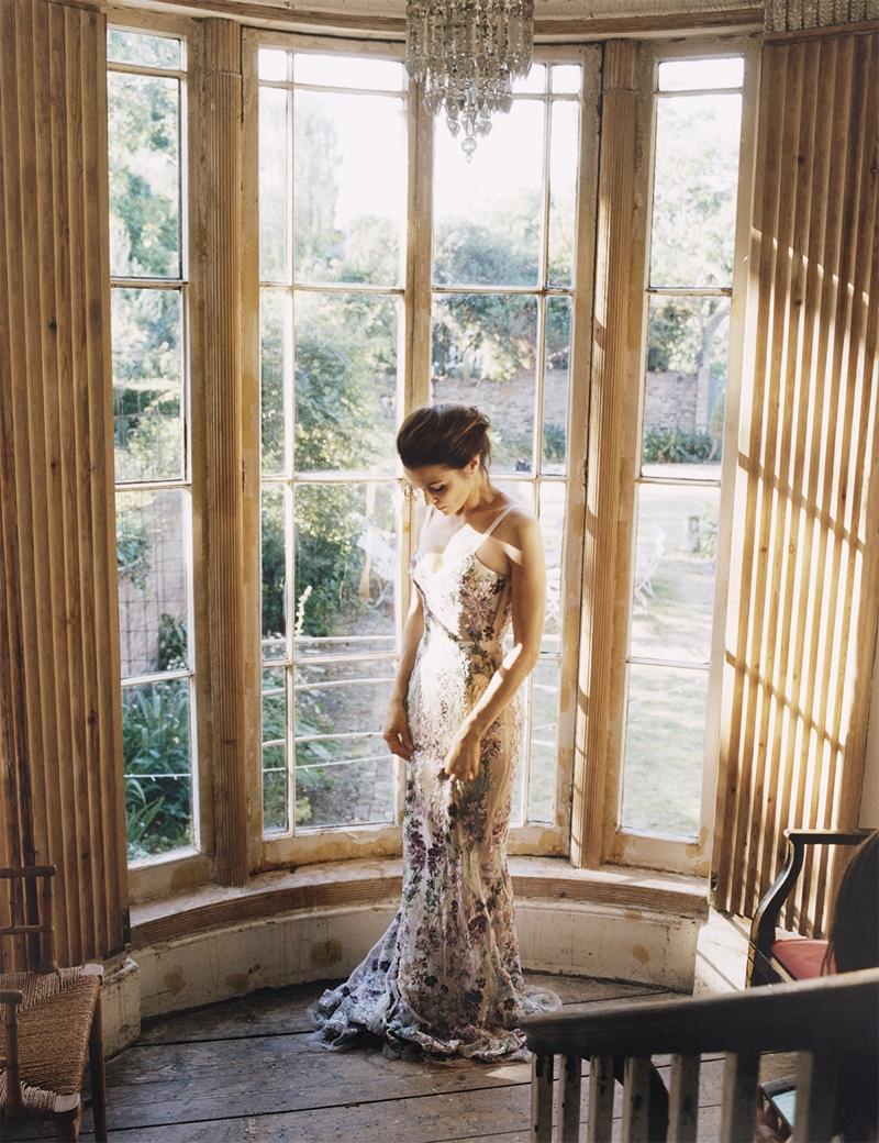 Rachel wears an Alexander McQueen gown