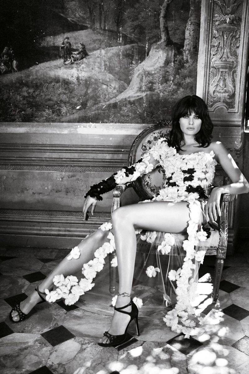 Isabeli poses in flower applique dress
