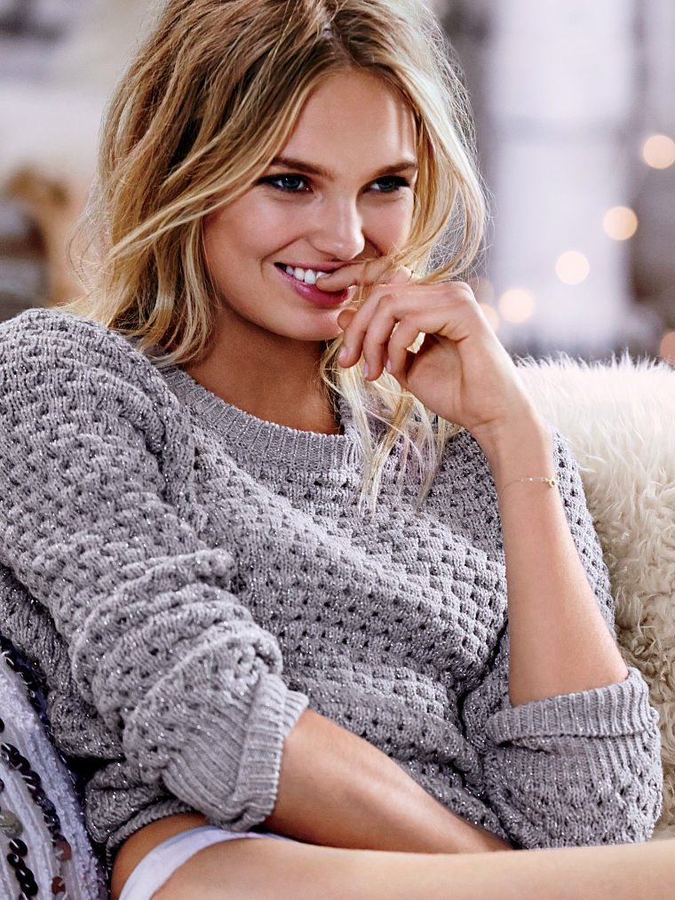 Romee sports a sweater from the apparel brand