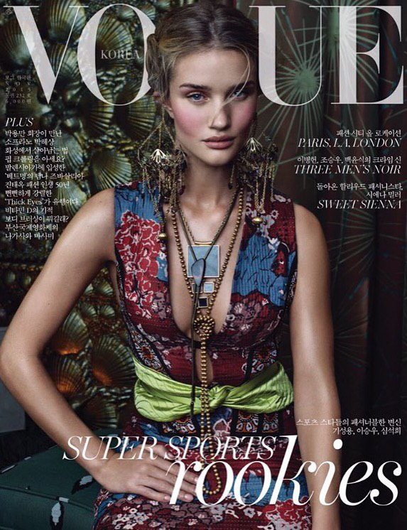 Rosie Huntington-Whiteley Stuns in Burberry on Vogue Korea Cover