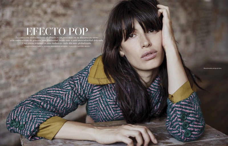 Sabrina models Prada looks for L'Officiel Mexico's November issue