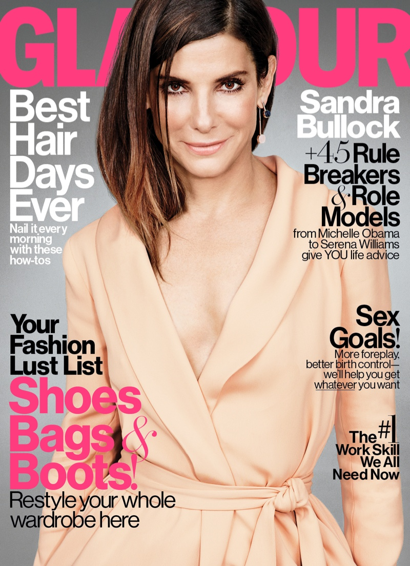 Sandra Bullock poses for the November 2015 cover story from Glamour Magazine. The actress is captured by Matt Irwin in the glossy portraits.
