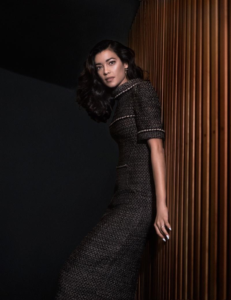 Stephanie looks elegant in Chanel dress and Hirotaka jewelry