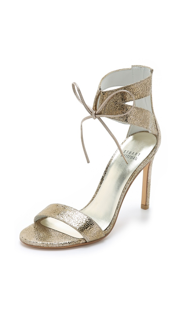 Stuart Weitzman Ankle Tie Sandals in Old Gold