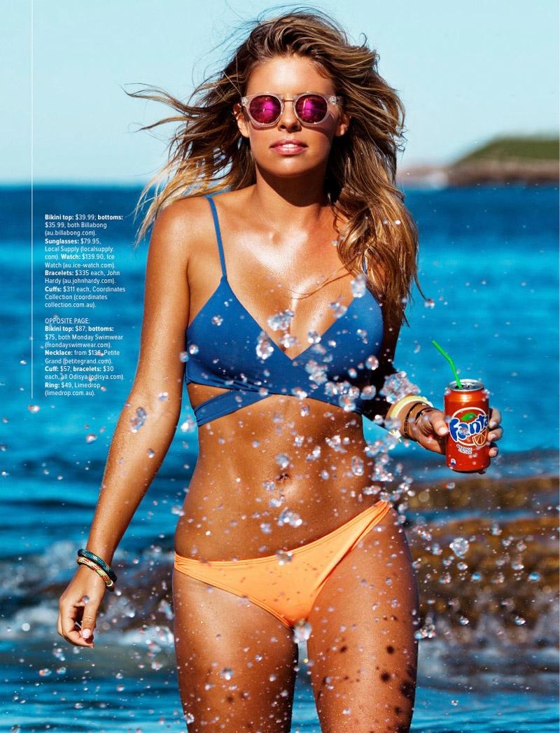 Tasha Oakley Sports Colorful Bikini Styles for Cosmopolitan Australia