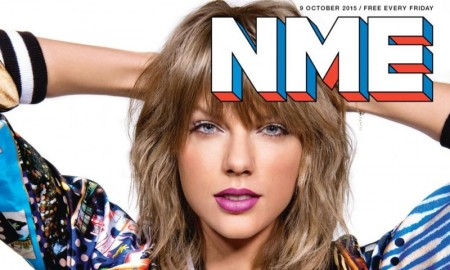 Singer Taylor Swift rocks a colorful look in the October 9, 2015, cover story from NME Magazine. The 'Shake it Off' singer poses in a bra top, bomber jacket and high-waisted shorts.