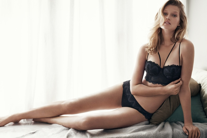Toni Garrn Stuns In H&M Winter Lingerie Styles