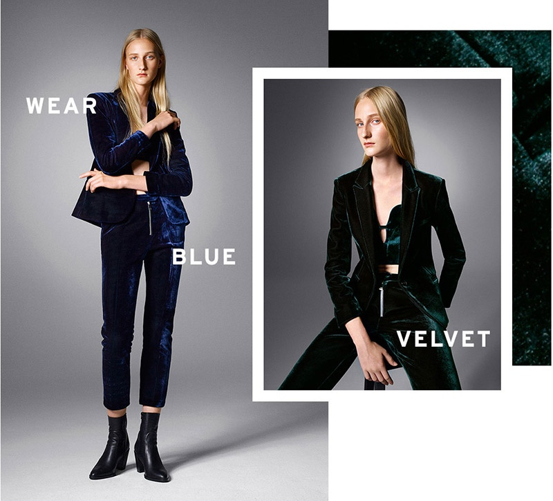 Topshop Premium Velvet Luxe Jacket & Cigarette Pants in Blue and Green
