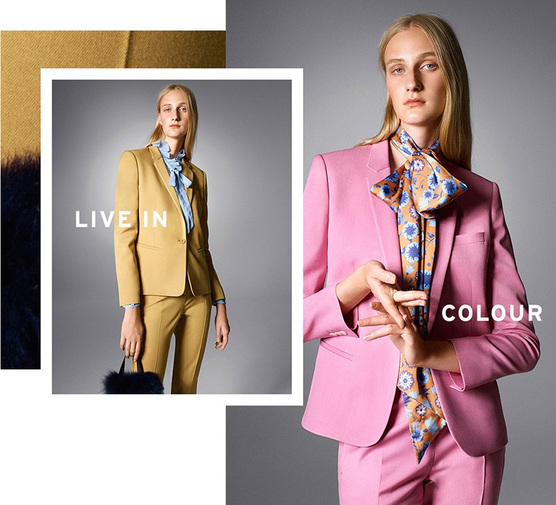 Topshop Premium Fitted Suit Jacket & Tapered Trousers in Yellow and Pink