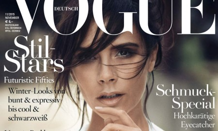 Victoria Beckham graces the November 2015 cover of Vogue Germany, wearing a design from her fall collection. Boo George photographed the British designer for the new issue.