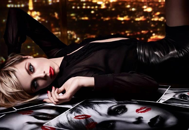 Edie Campbell Smolders In YSL Beauty`s Holiday Lipstick Campaign