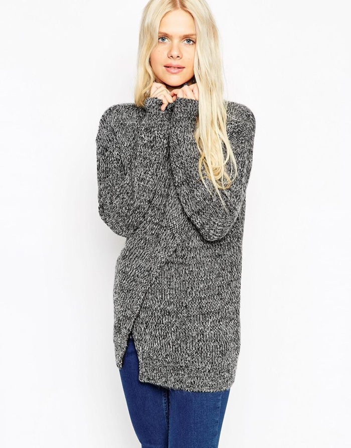 ASOS Split Front Sweater in Grey available for $72.00