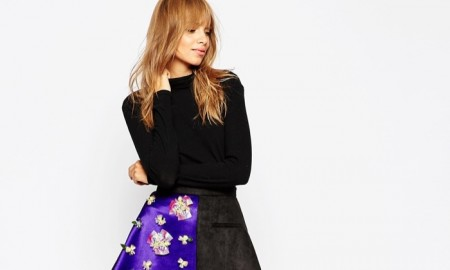 A V Robertson x ASOS Black Asymmetric Hem Skirt with Embellished Panel