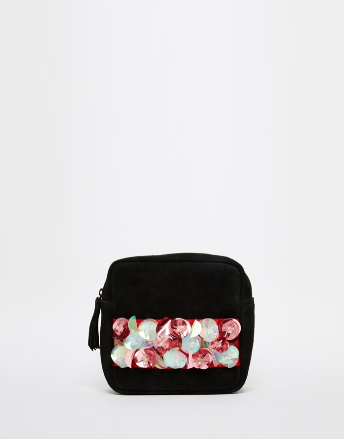 A V Robertson ASOS Black Embellished Clutch Bag