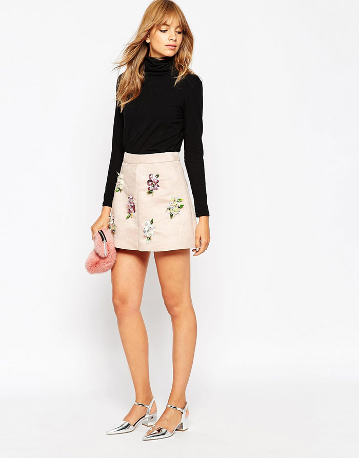 A V Robertson ASOS Black Embellished Mini Skirt