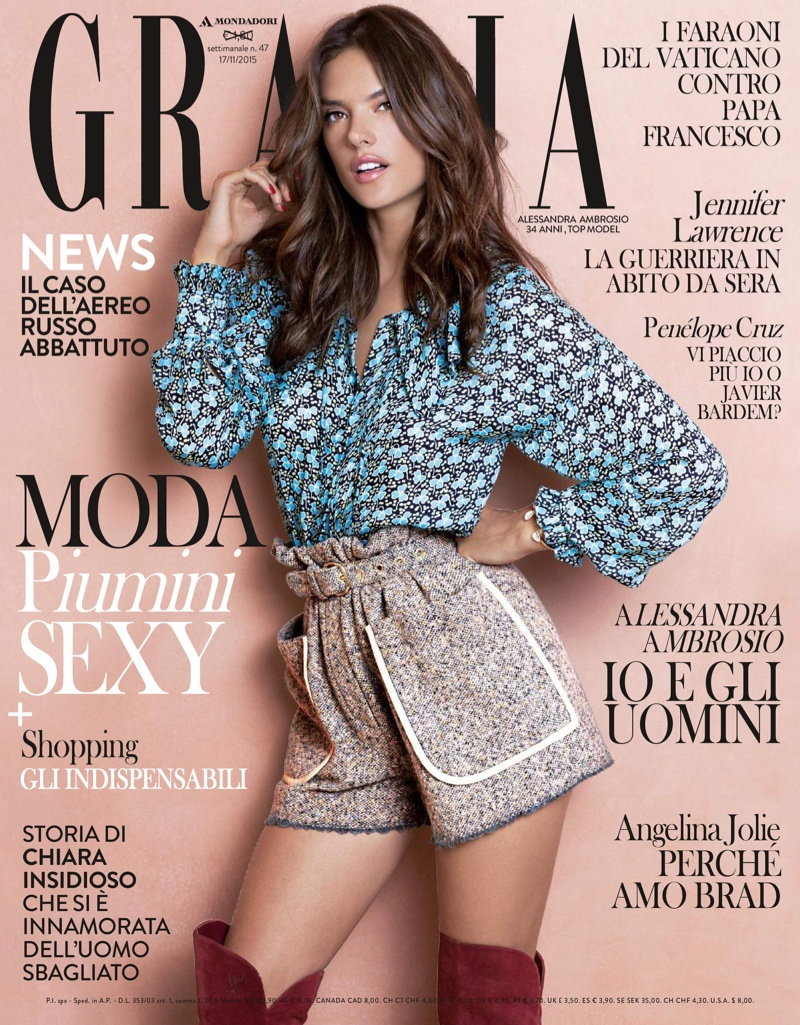 Alessandra Ambrosio on Grazia Italy November 17, 2015 cover