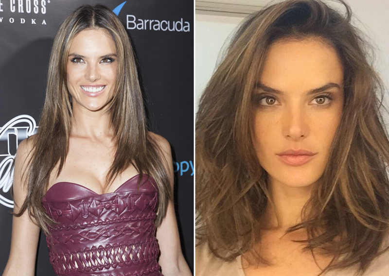 BEFORE AND AFTER: Alessandra Ambrosio shows off a long bob hairstyle. Photo: lev radin / Shutterstock.com / Instagram