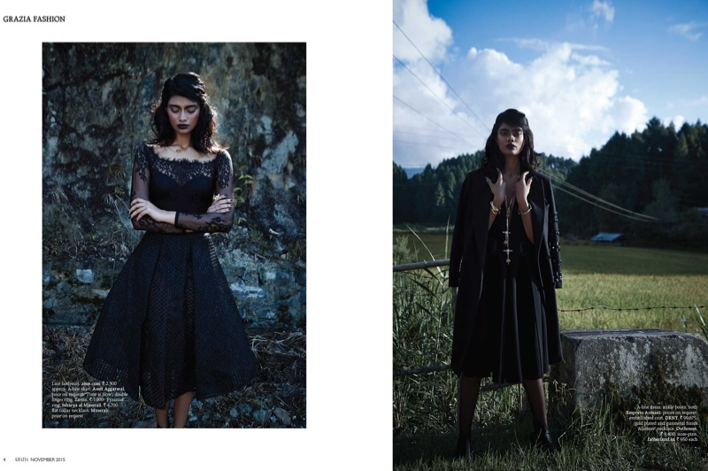 The model wears all black outfits in images photographed by Keegan Crasto