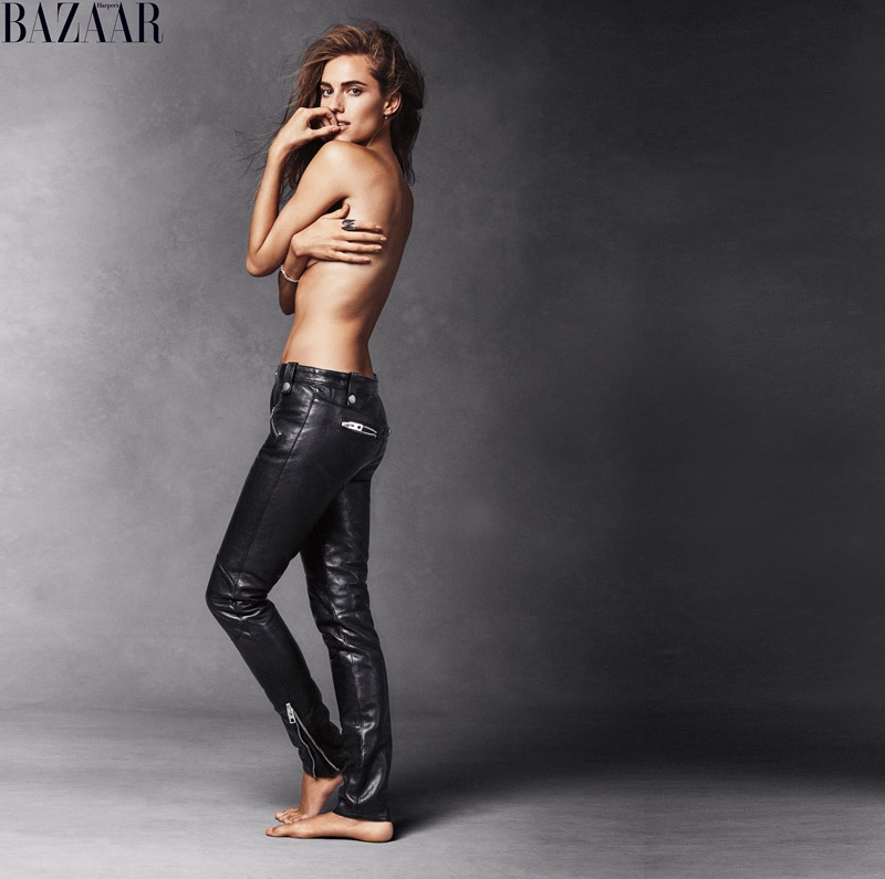 Allison Williams goes topless in Coach leather pants