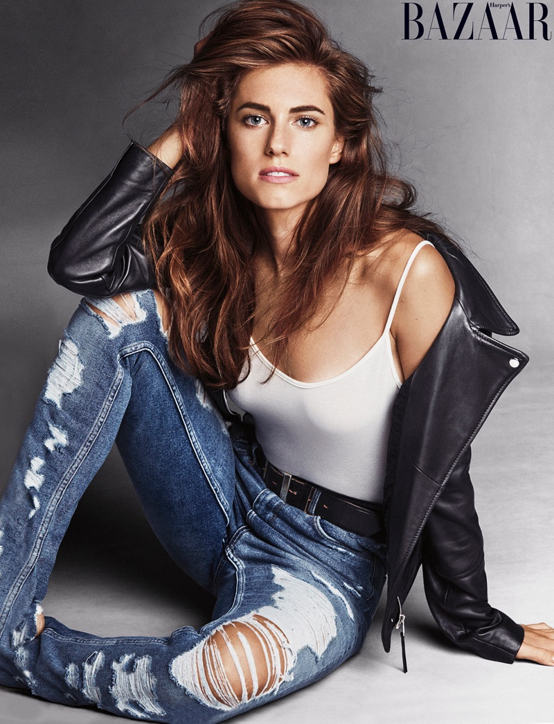 Allison poses in ripped denim look