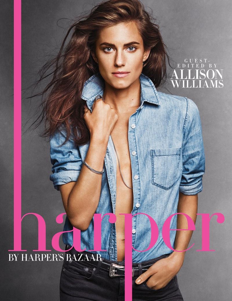 Allison Williams Goes Topless, Rocks Denim For Harper By Harper`s Bazaar