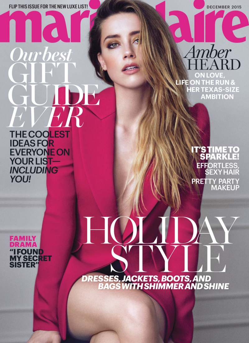 Amber Heard Covers Marie Claire December 2015, Talks Johnny Depp & Tabloid Rumors