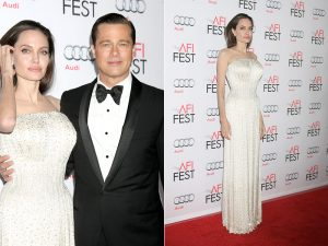 Angelina Jolie Shines in Custom-Made Versace at AFI Premiere of 'By The Sea'
