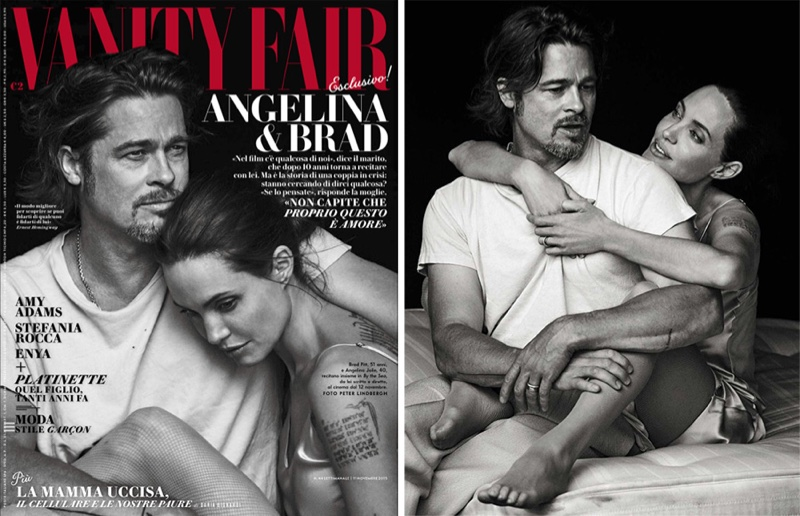 Angelina Jolie and Brad Pitt pose for Fanity Fair Italia November 2015 cover