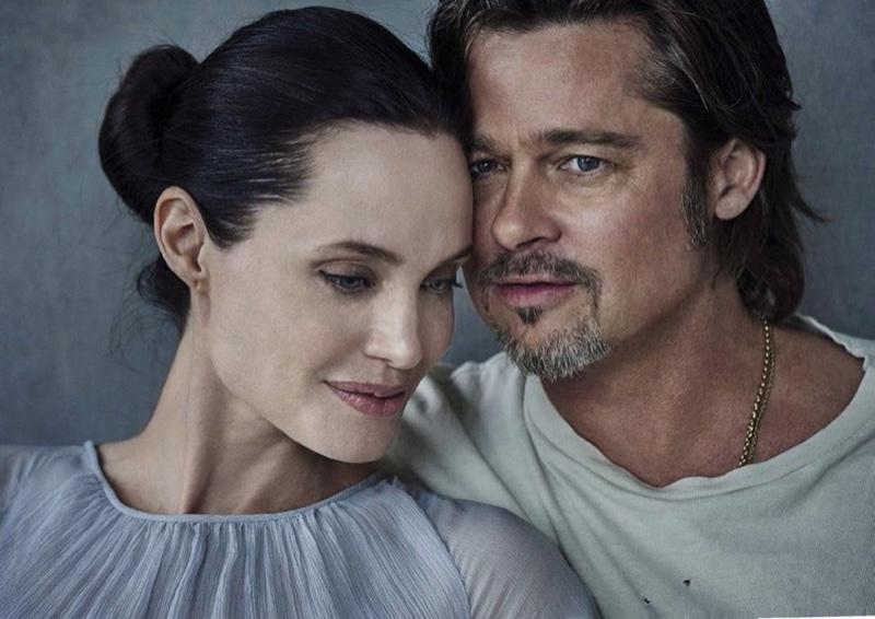 Angelina Jolie and Brad Pitt pose in Vanity Fair Italia