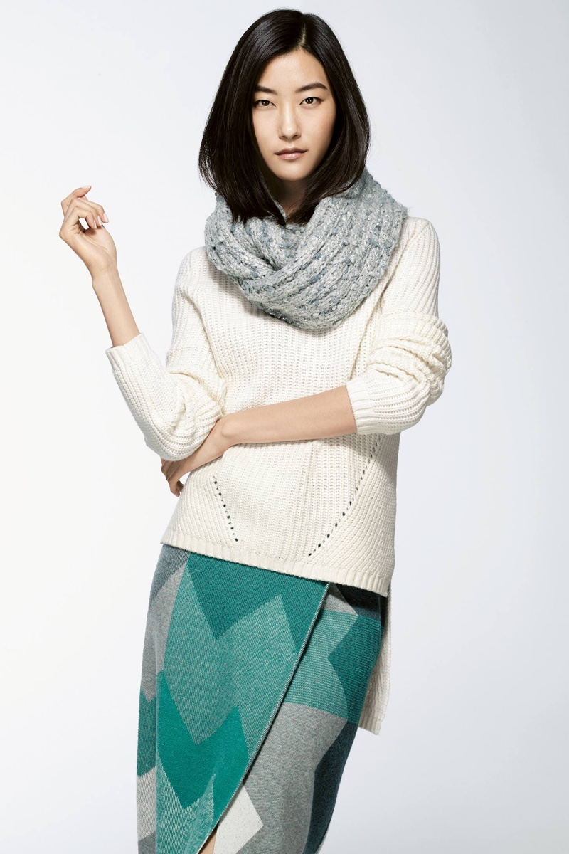 Meribel Infinity Scarf, Moth High-Low Turtleneck, Moth Chevron Sweater Skirt