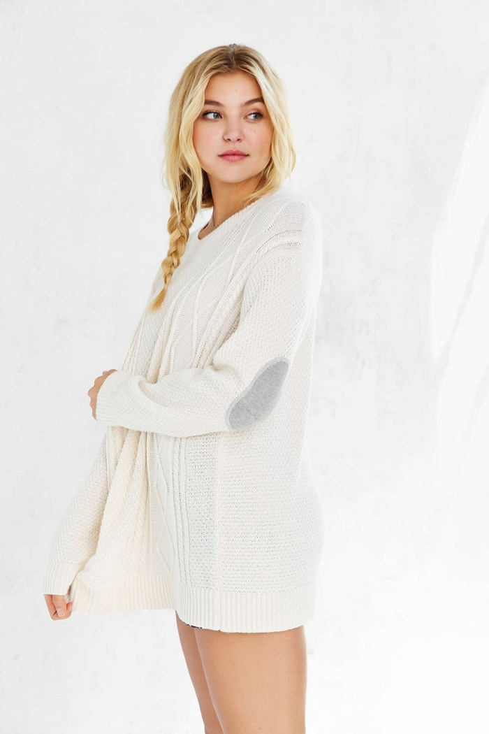 BDG Elbow Patch Sweater in White available for $59.00