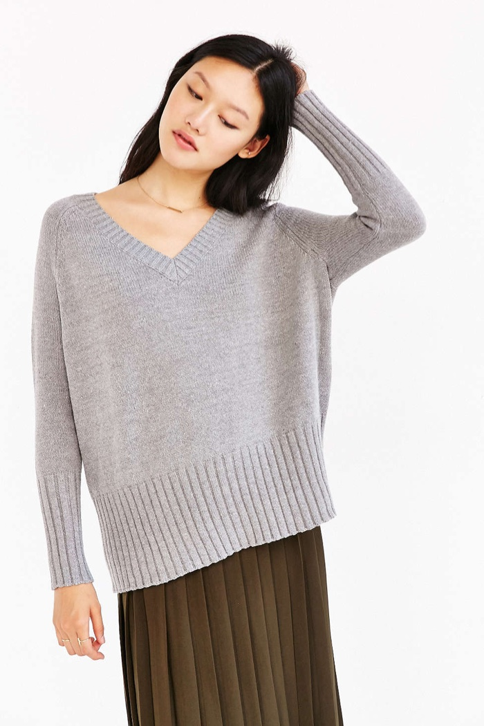 BDG Jordan V Neck Sweater in Grey available for $59.00