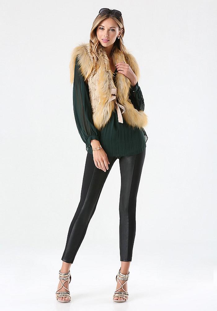 Bebe Brown Faux Fur Vest