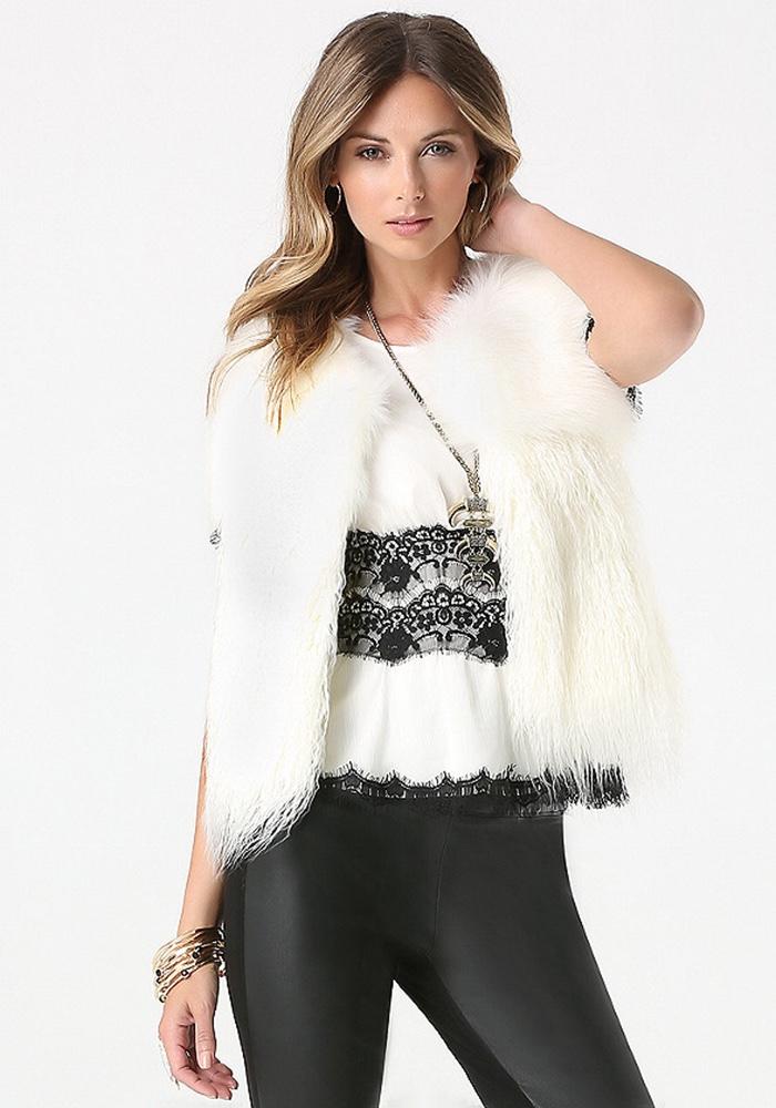 Bebe Mix Faux Fur Vest